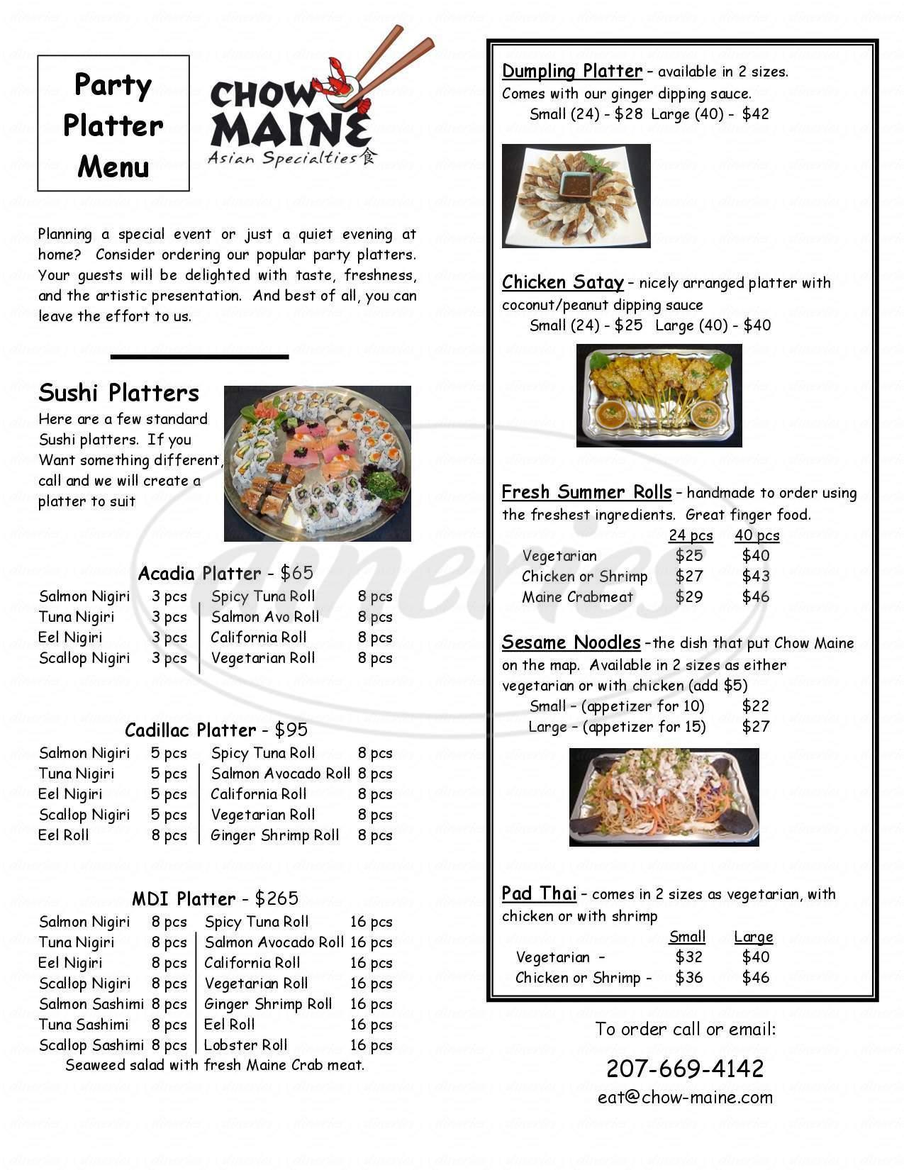menu for Chow Maine