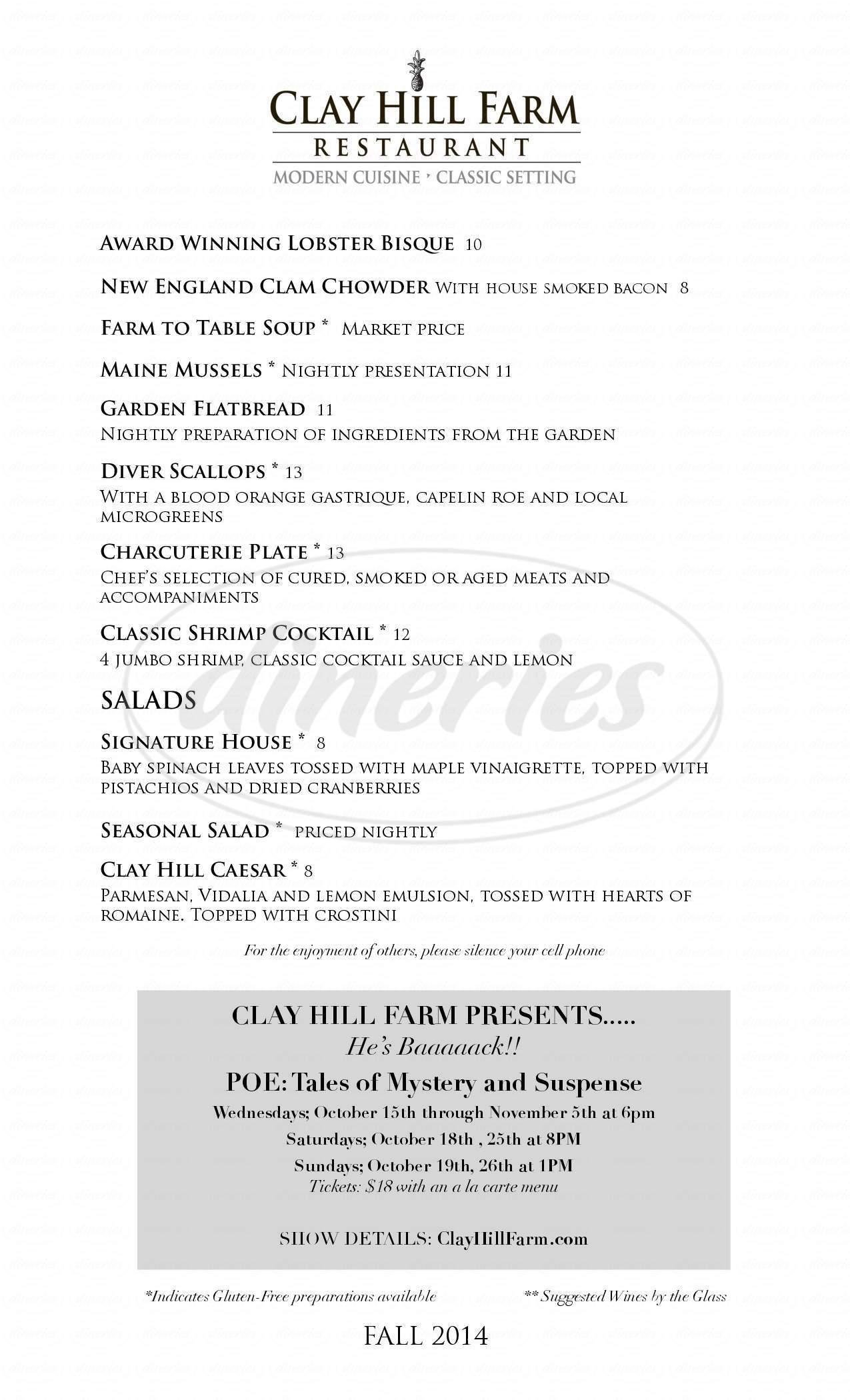 menu for Clay Hill Farm