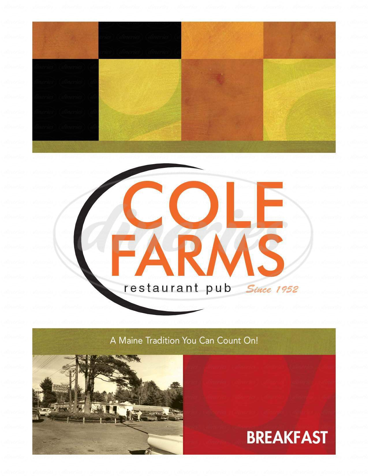 menu for Cole Farms Restaurant