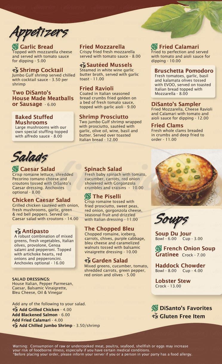 menu for Di Santo's