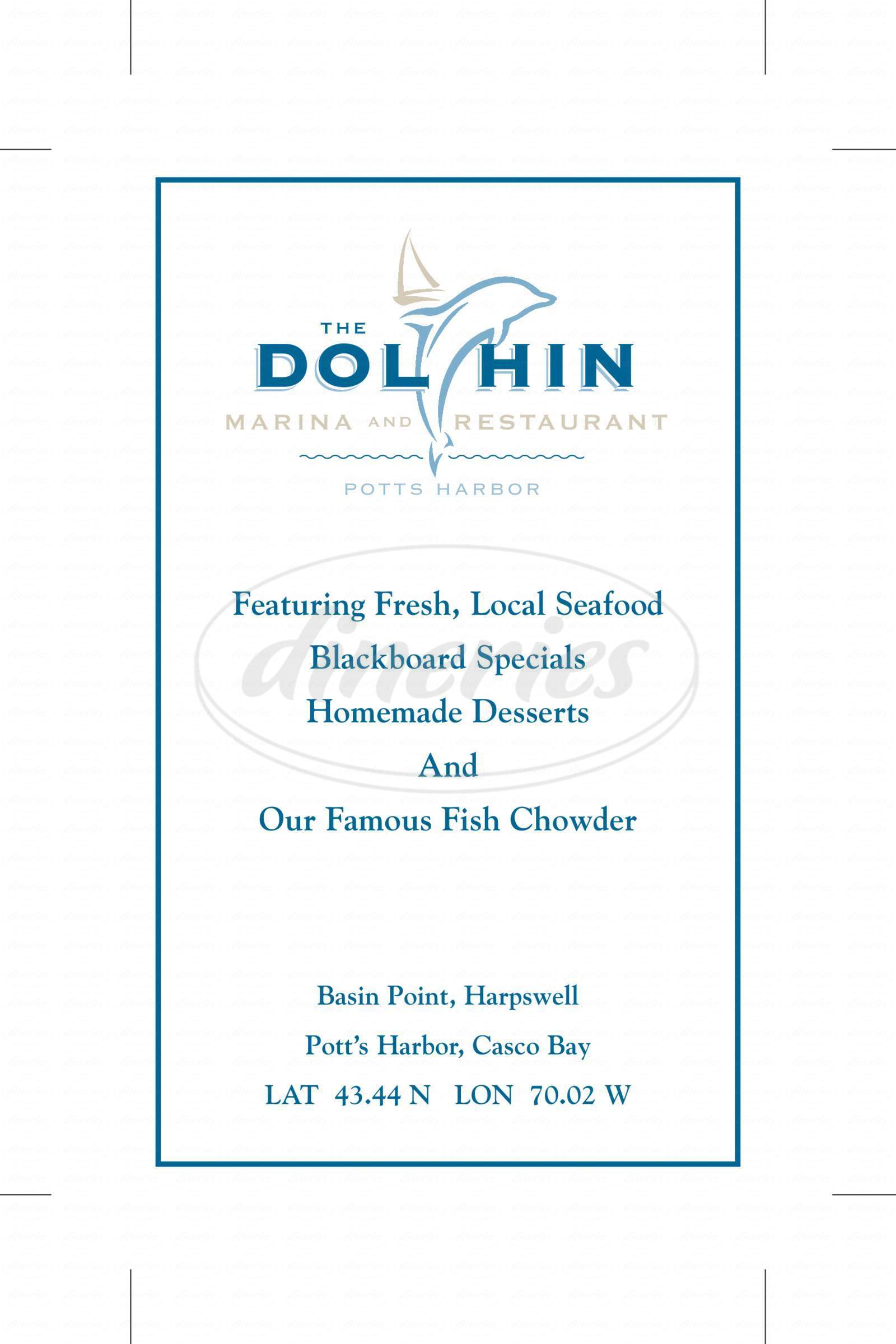menu for Dolphin Marina and Restaurant