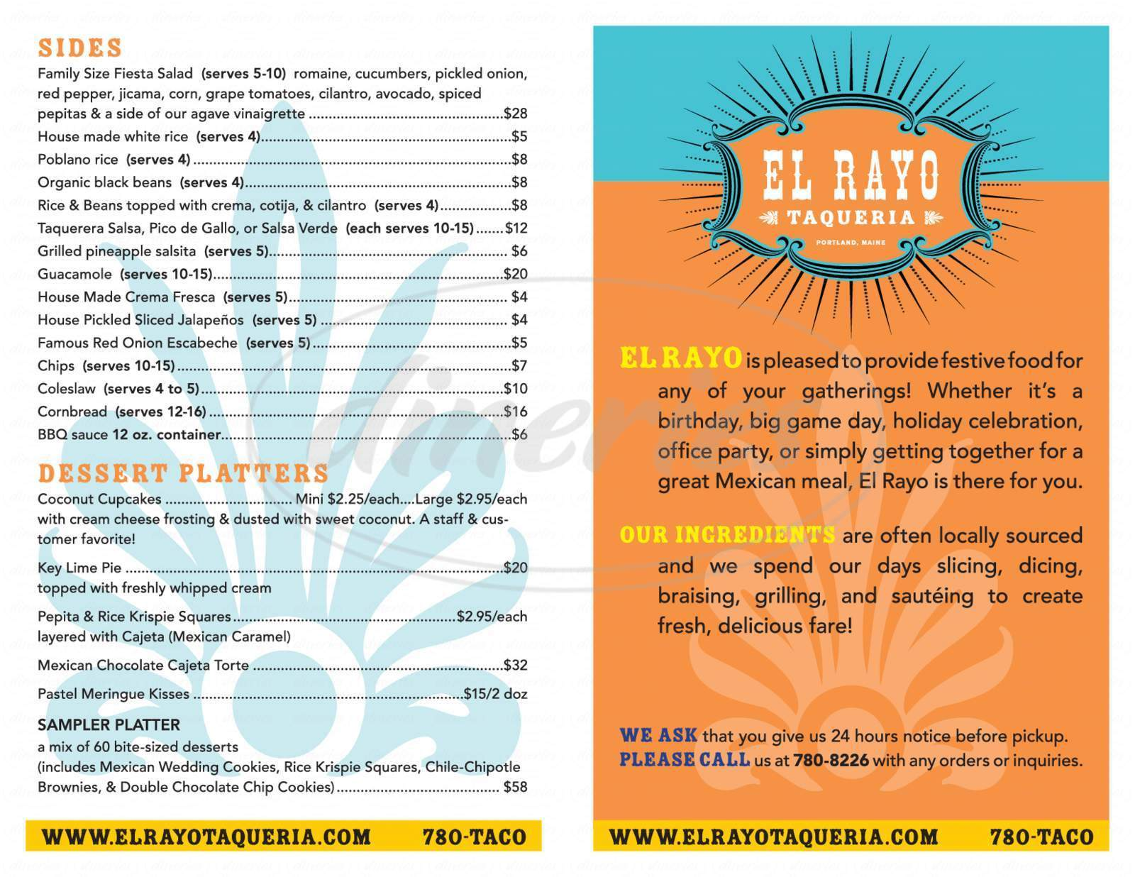 menu for El Rayo Taqueria