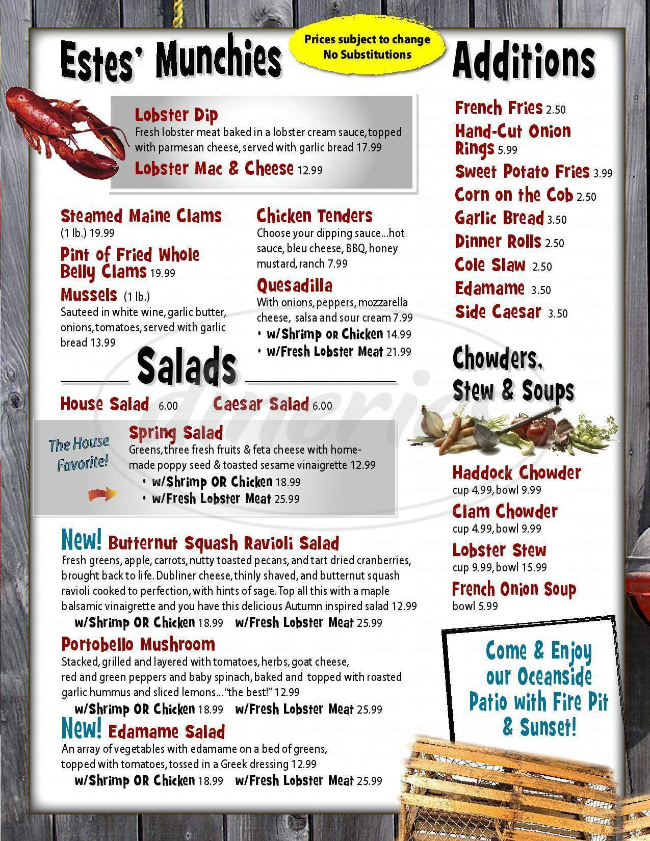 menu for Estes Lobster House