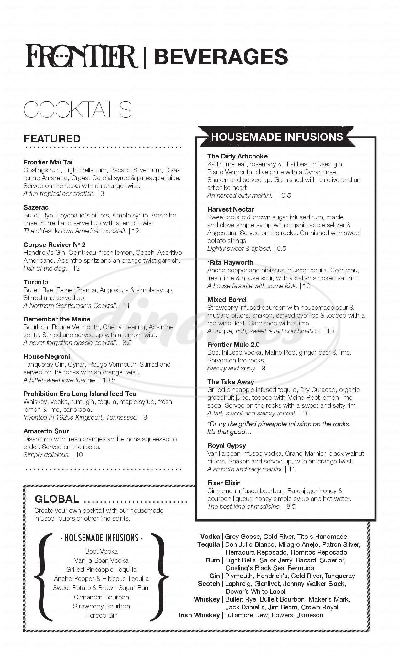 menu for Frontier
