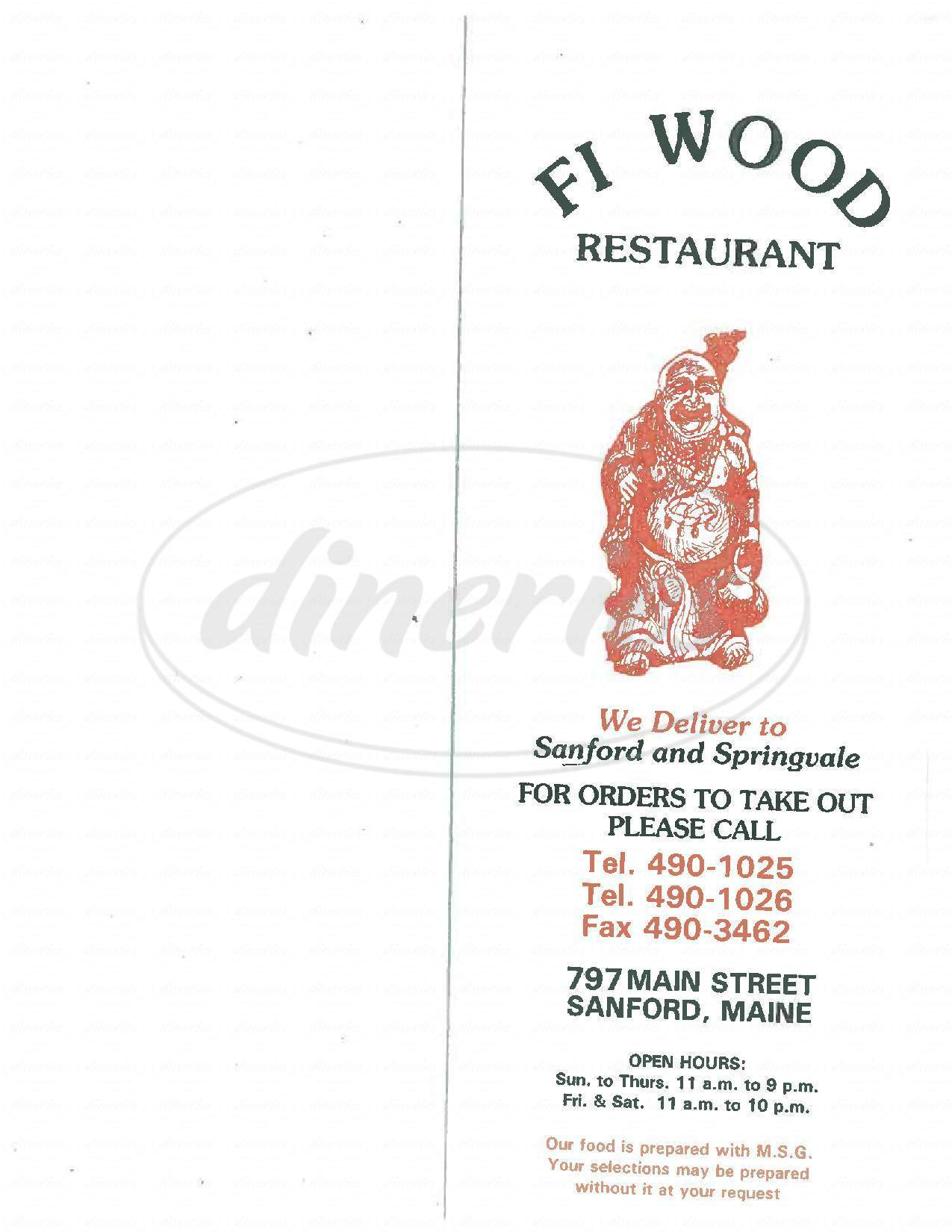 menu for Fi Wood Restaurant