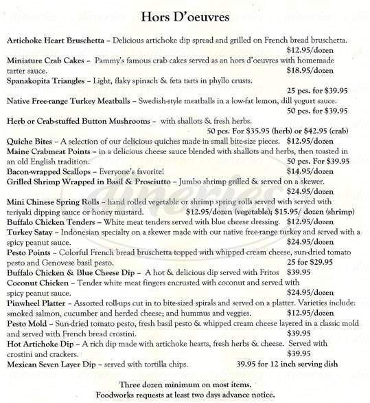 menu for Foodworks