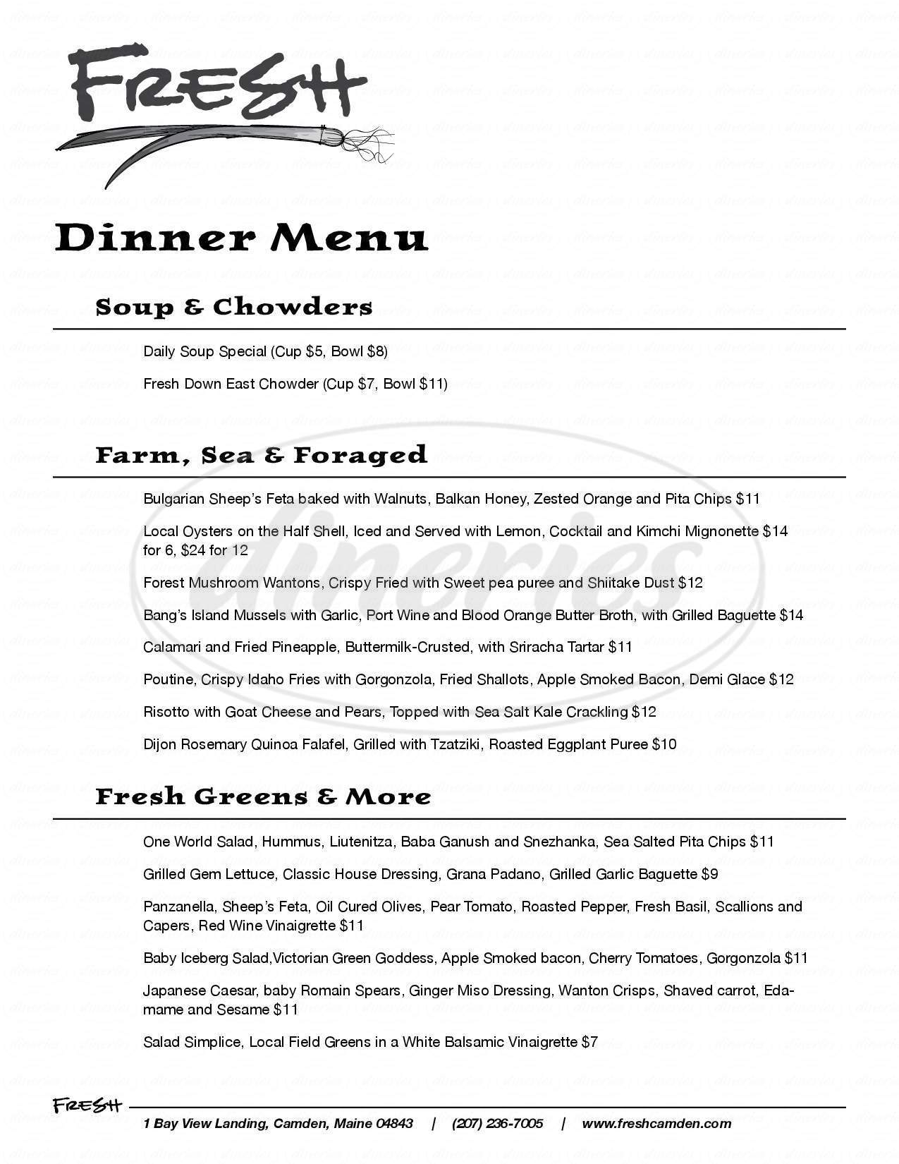 menu for Fresh Restaurant