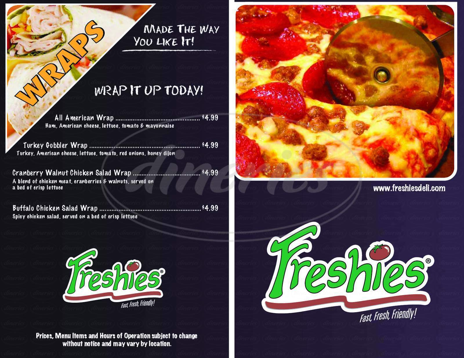 menu for Freshies