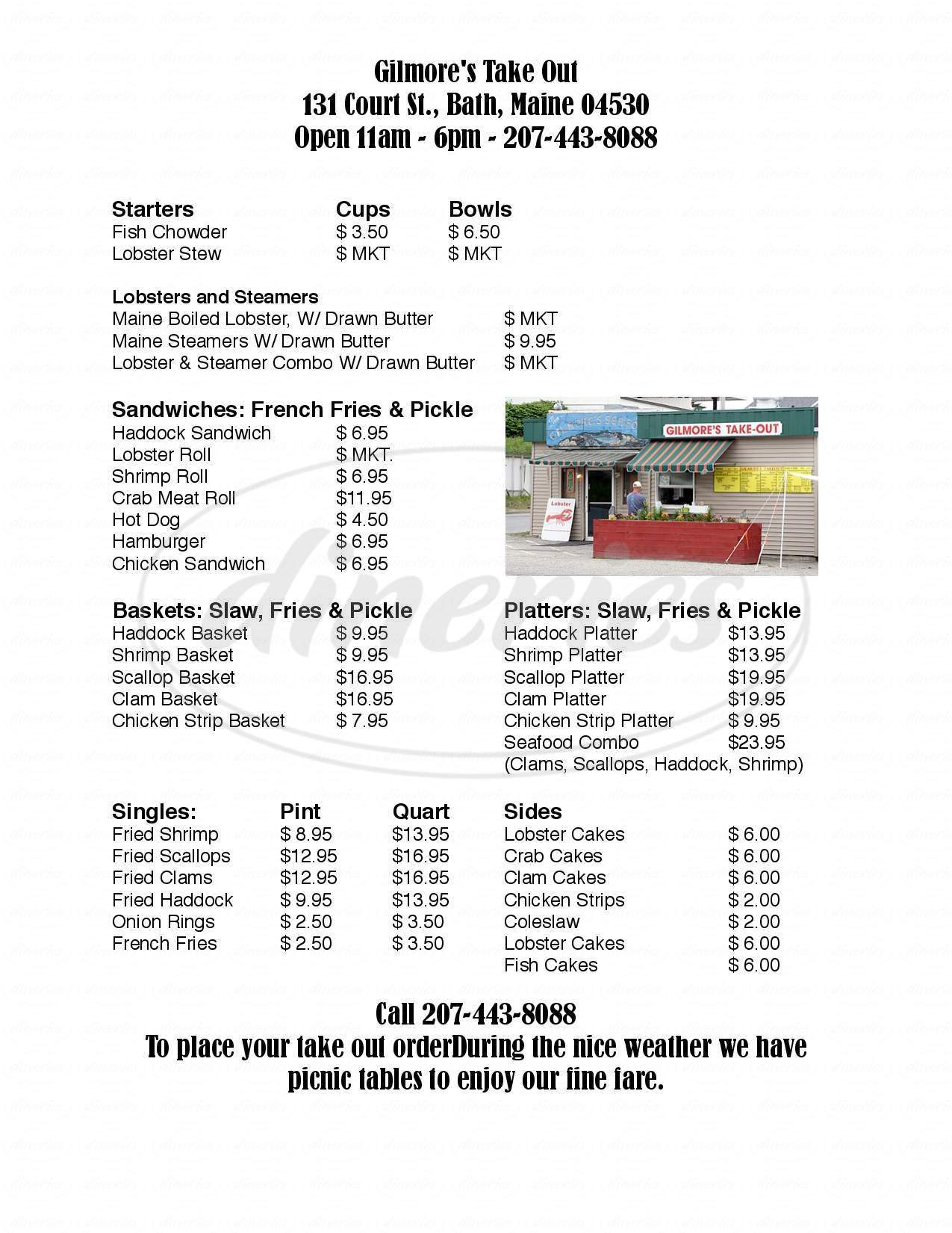 menu for Gilmores Take-Out
