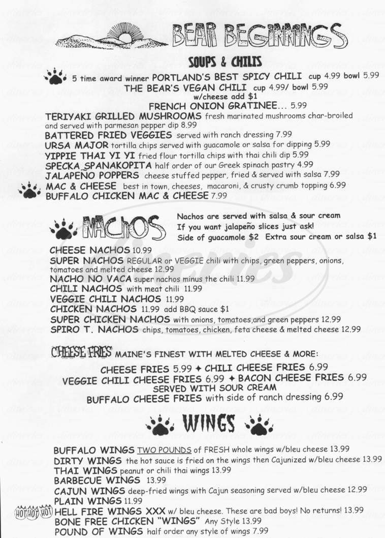 menu for The Great Lost Bear