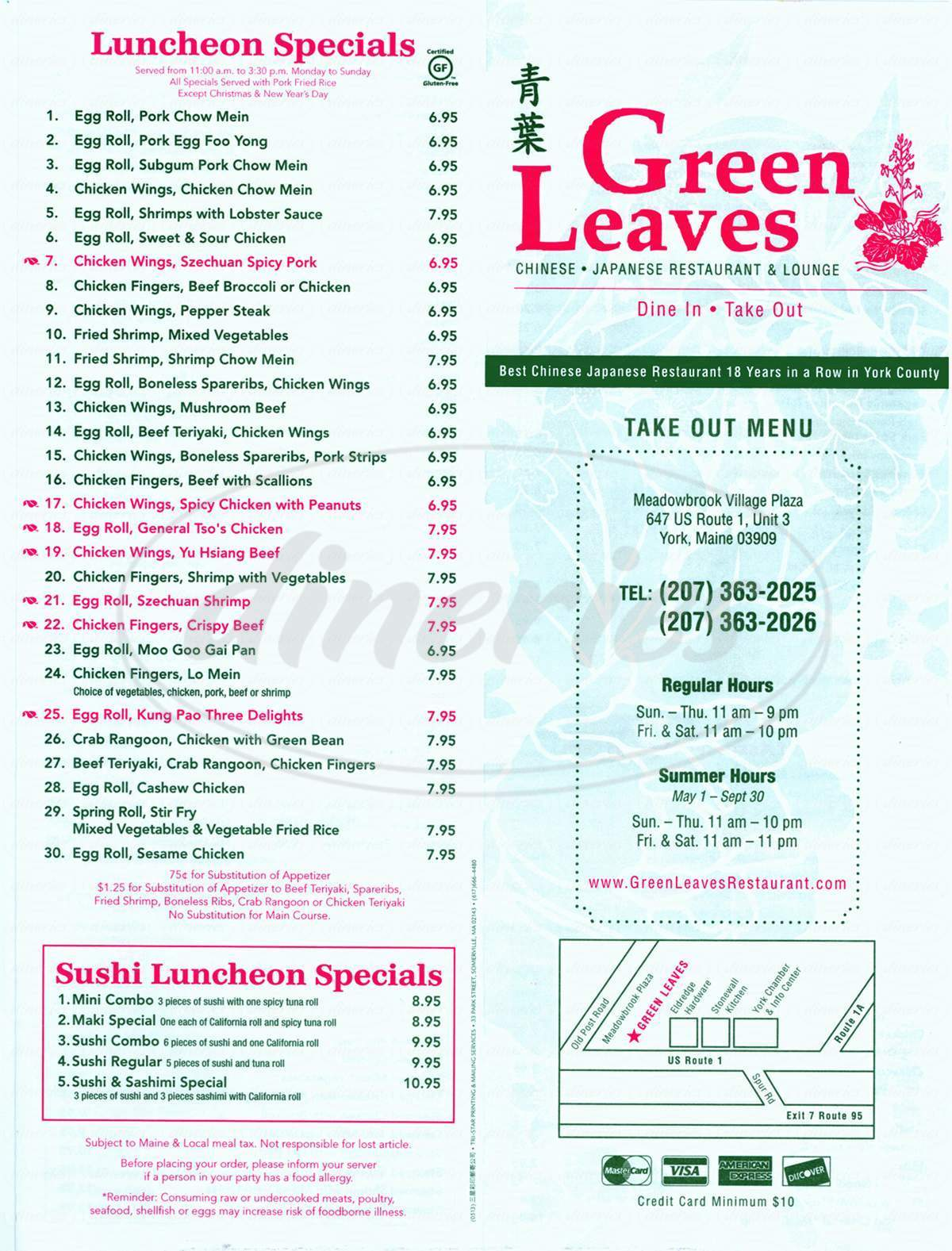 menu for Greenleaves Chinese Restaurant