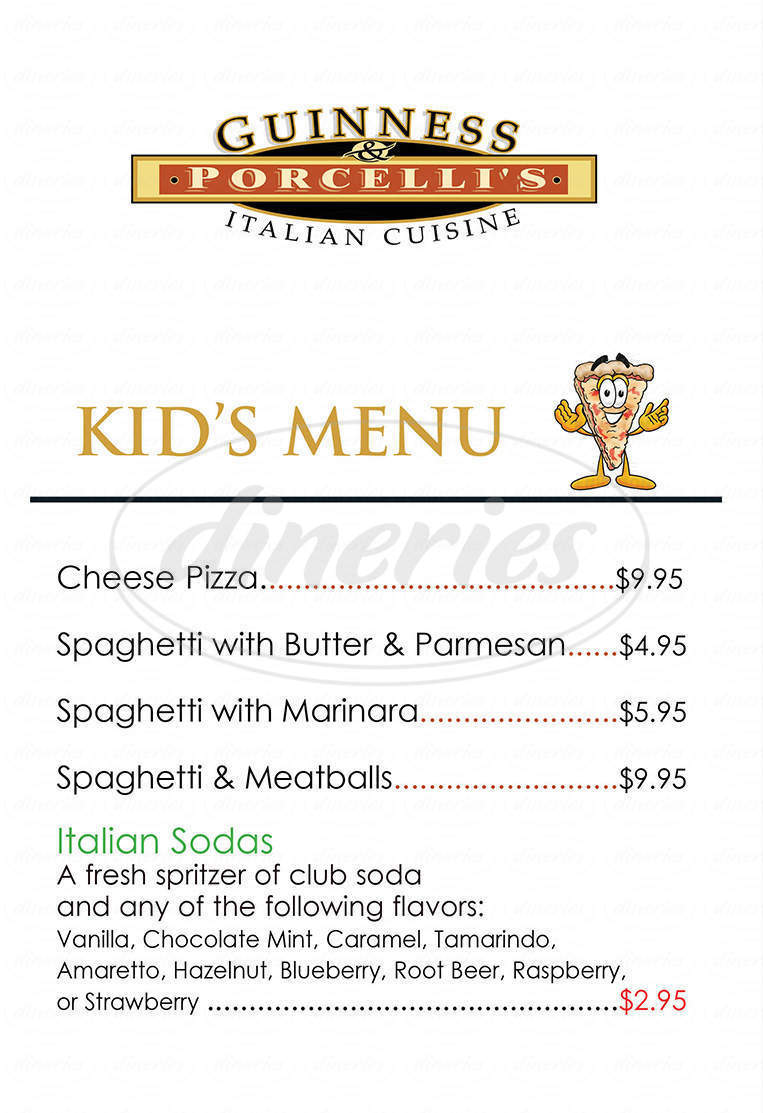 menu for Guinness & Porcelli's