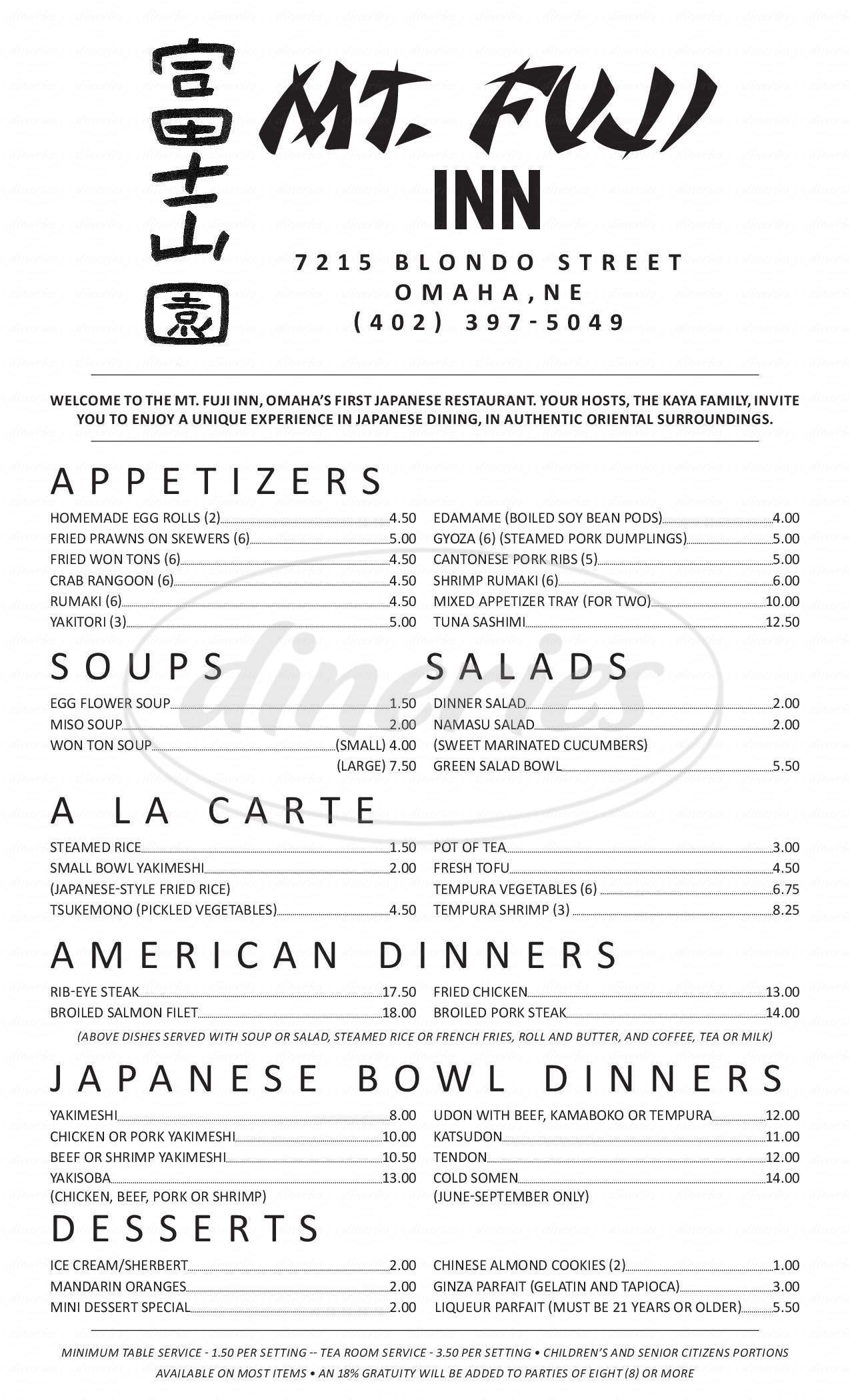 menu for Mt Fuji Inn
