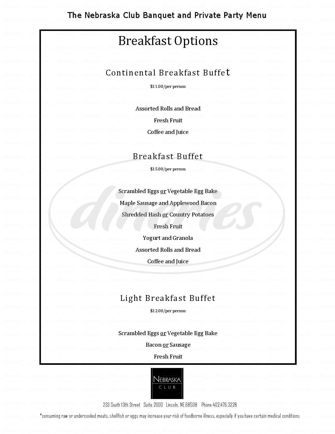 Big menu for The Nebraska Club, Lincoln
