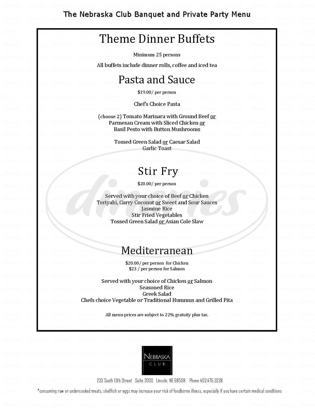 menu for The Nebraska Club