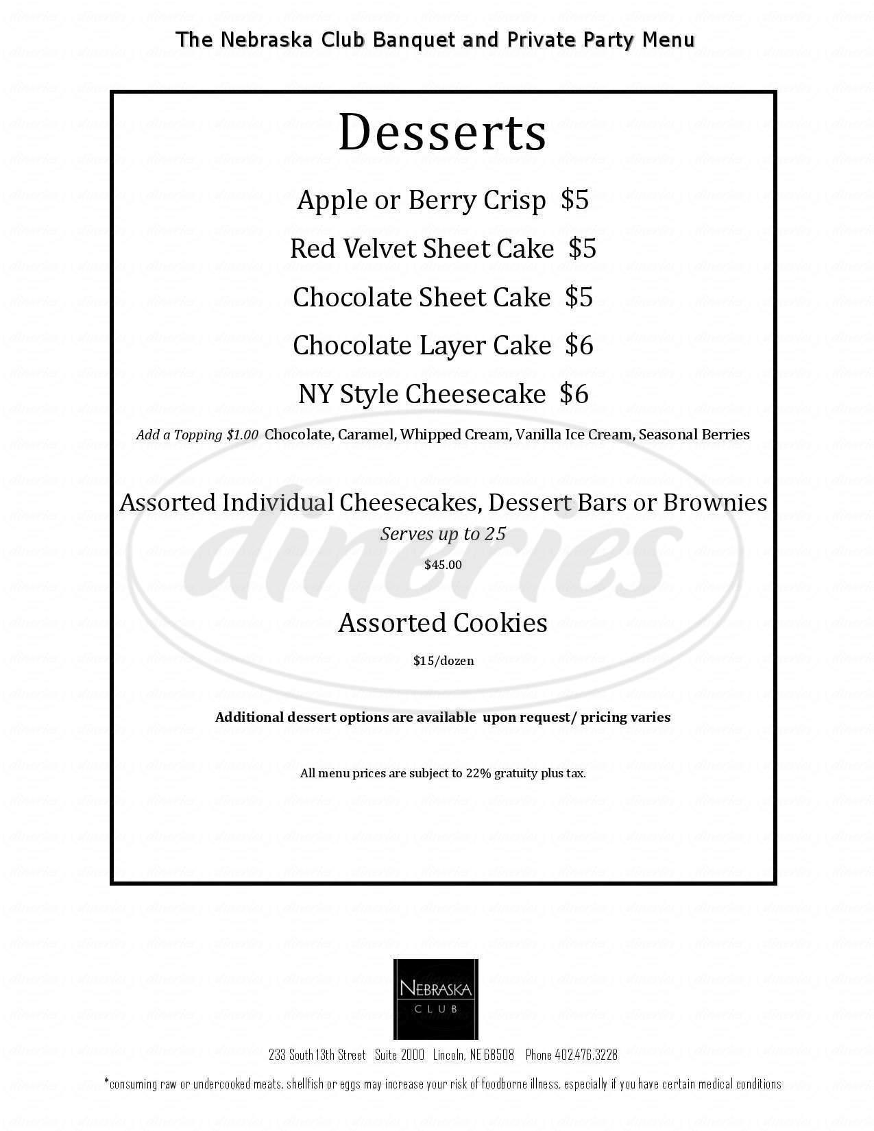menu for The Nebraska Club