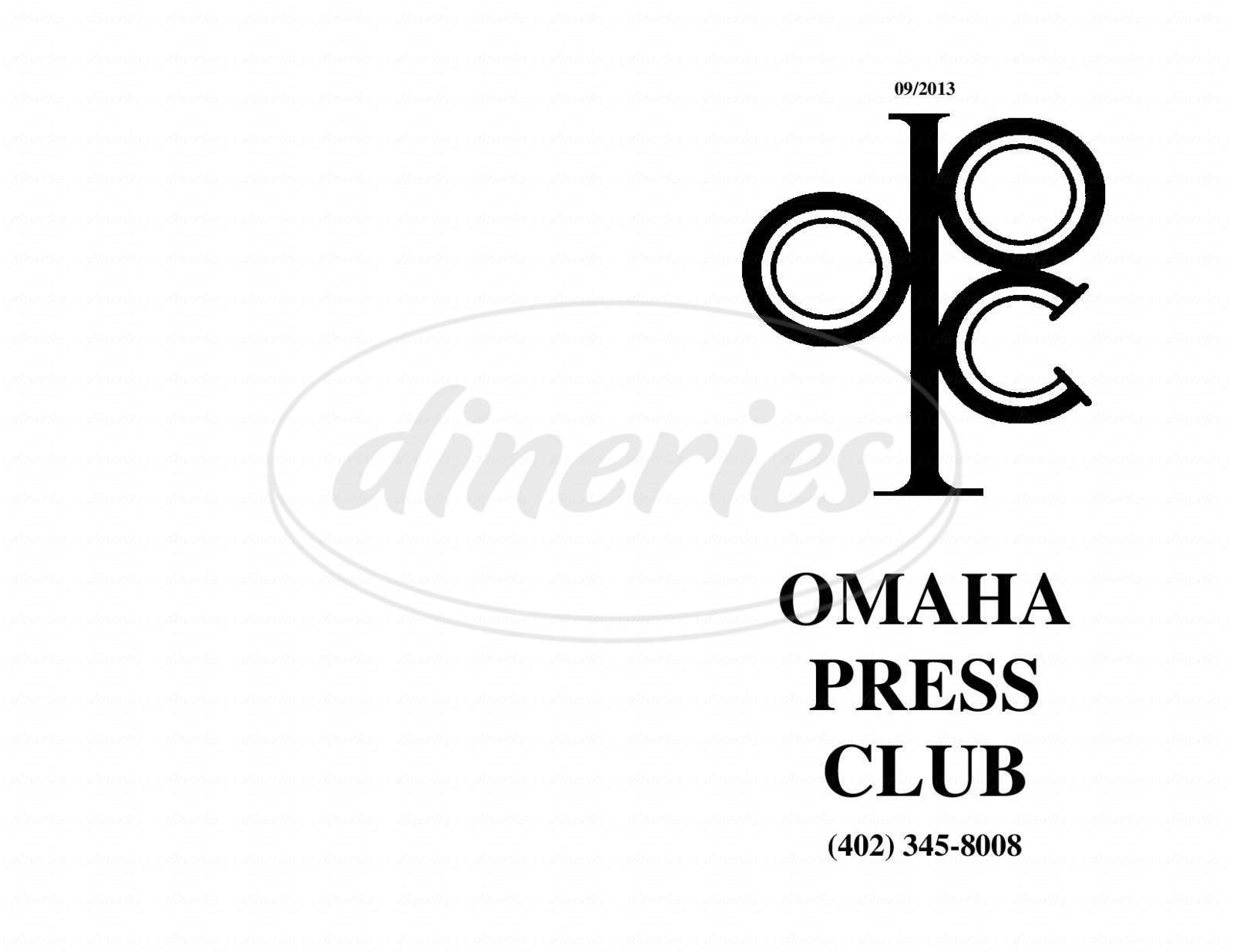 menu for Omaha Press Club