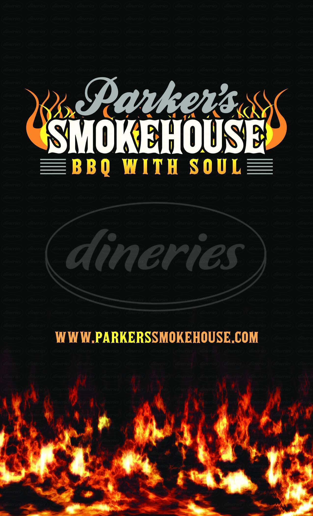 menu for Parker's Smokehouse