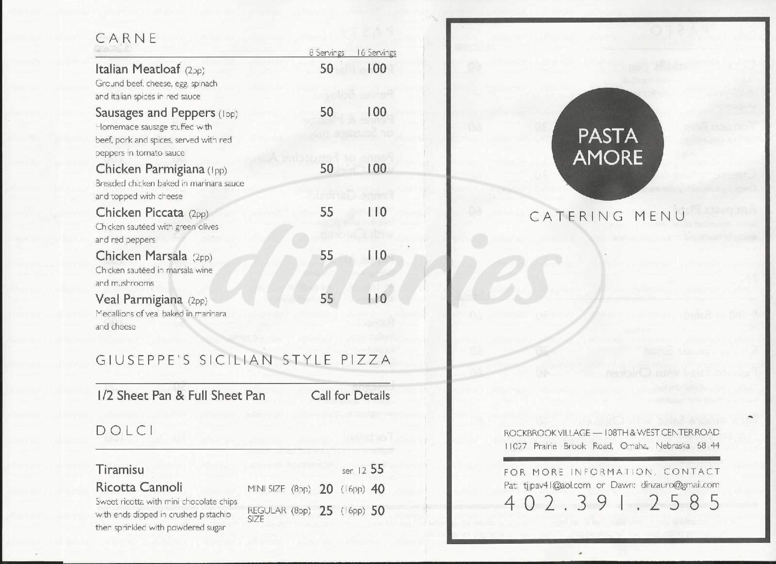 menu for Pasta Amore e Fantasia