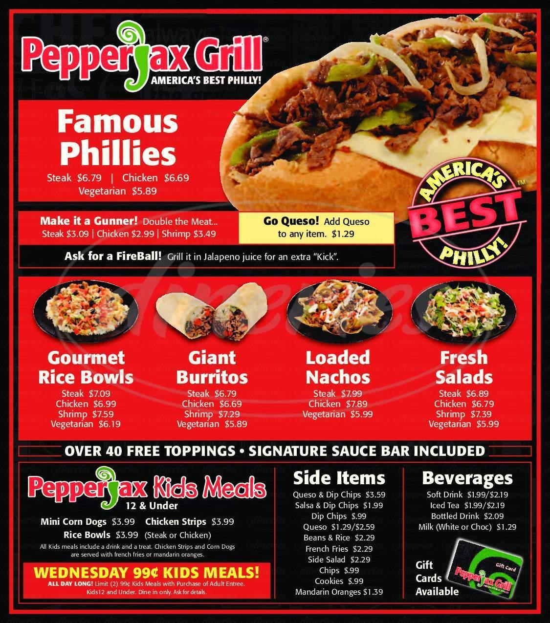 menu for PepperJax Grill