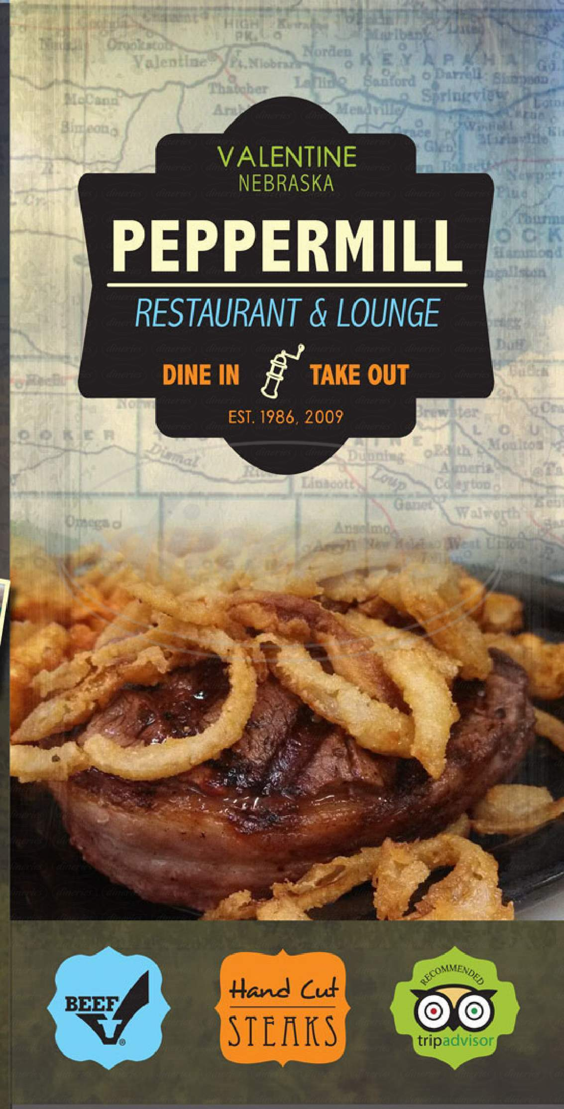 menu for Peppermill & E.K. Valentine Lounge