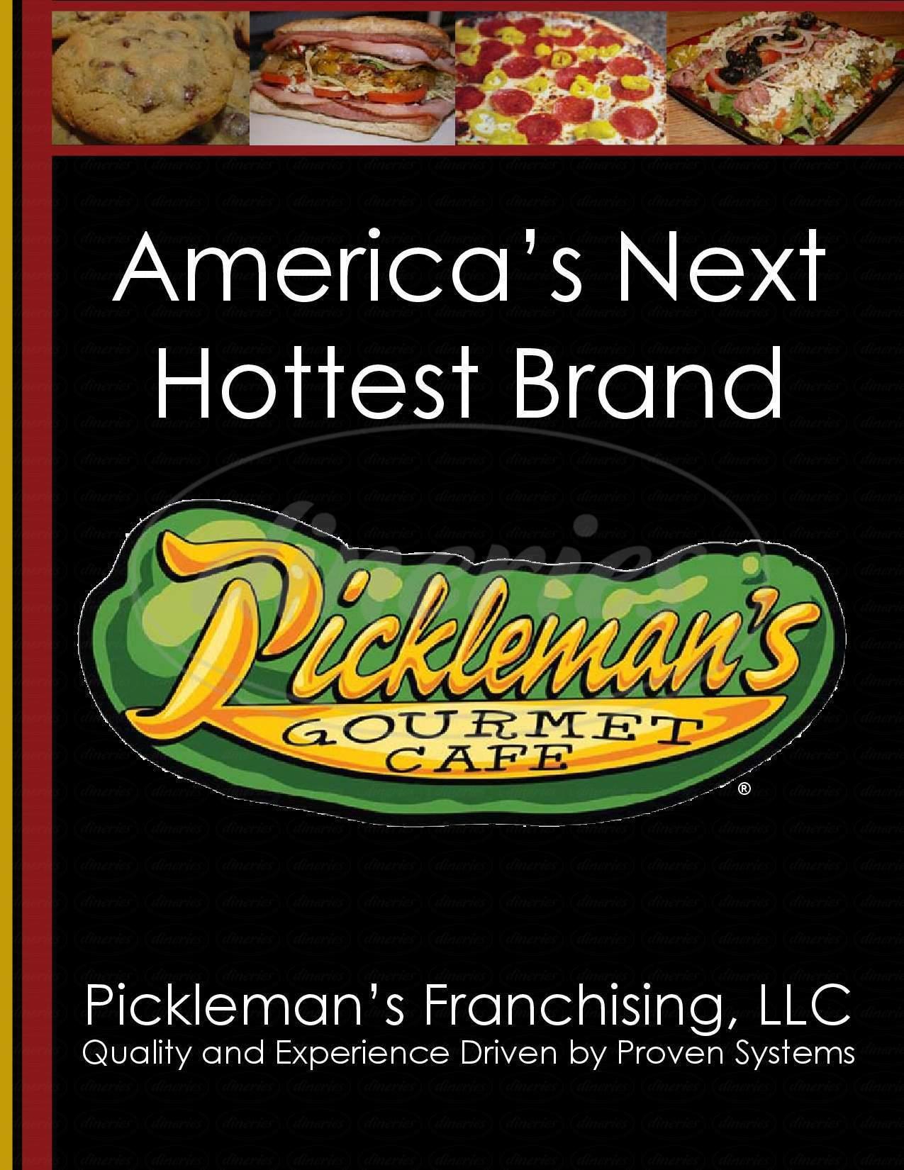 menu for Pickleman's Gourmet Cafe