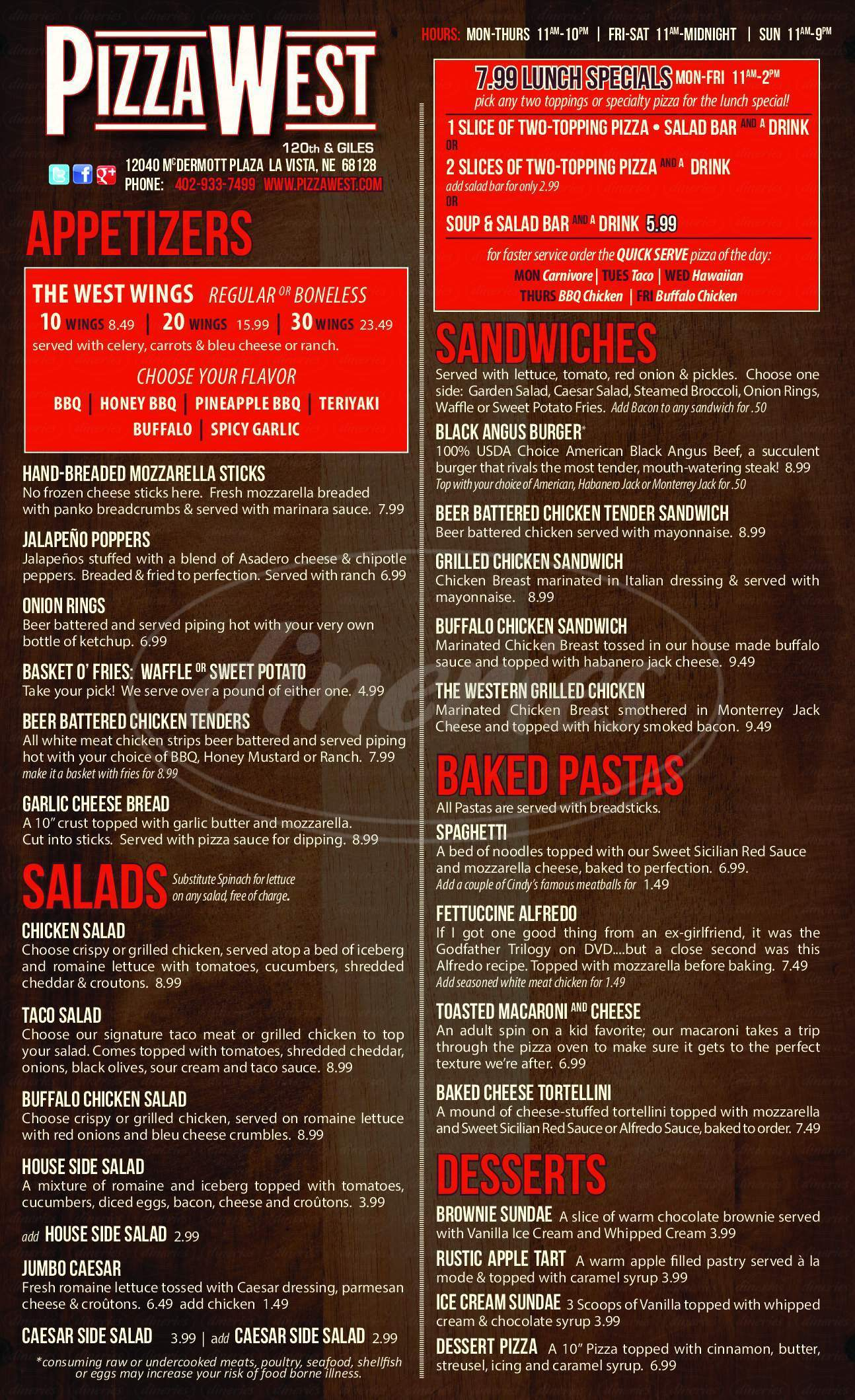 menu for PizzaWest