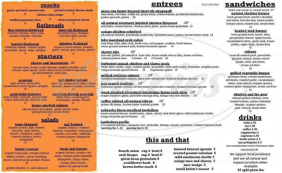 menu for Railcar Modern American Kitchen
