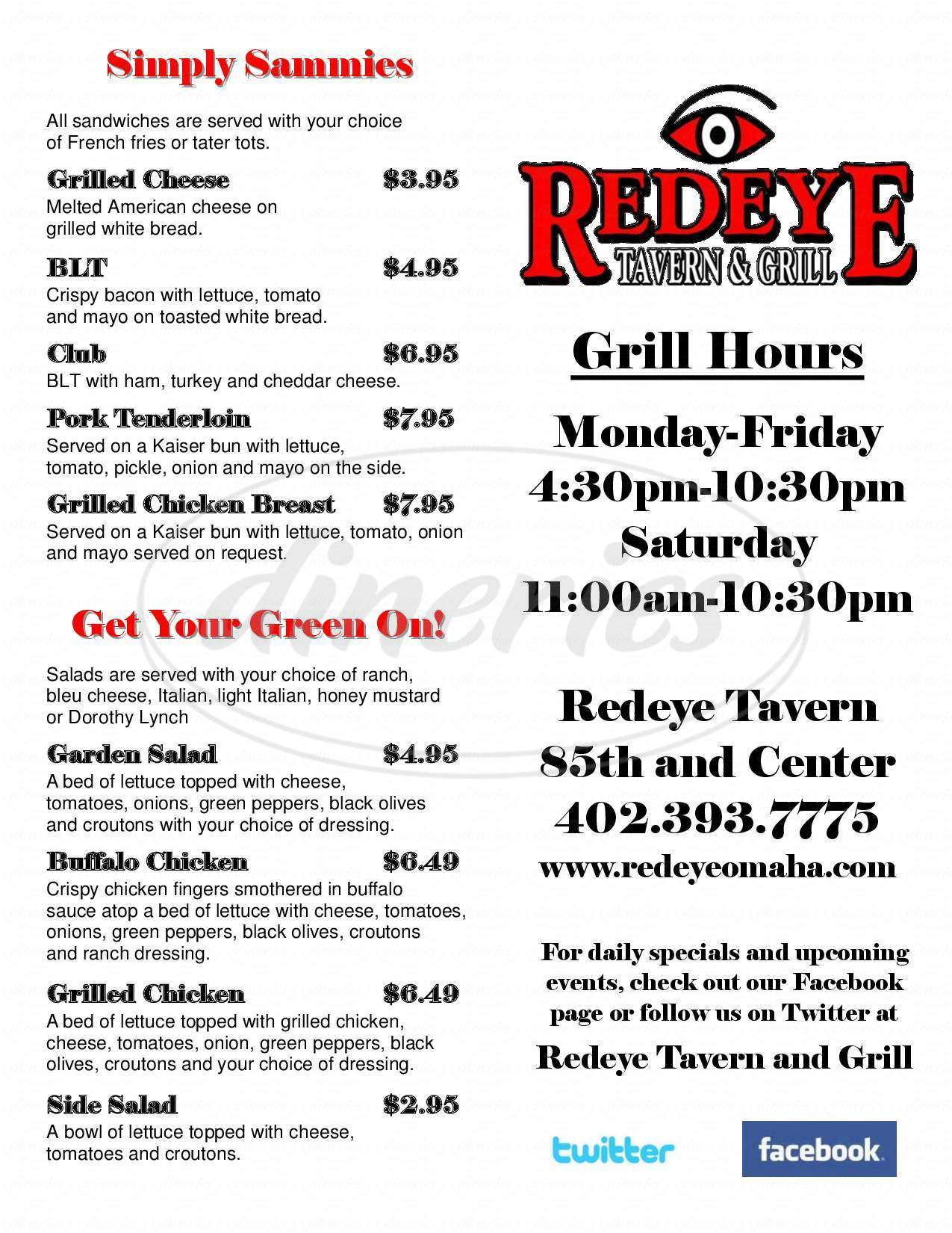 menu for Redeye Tavern
