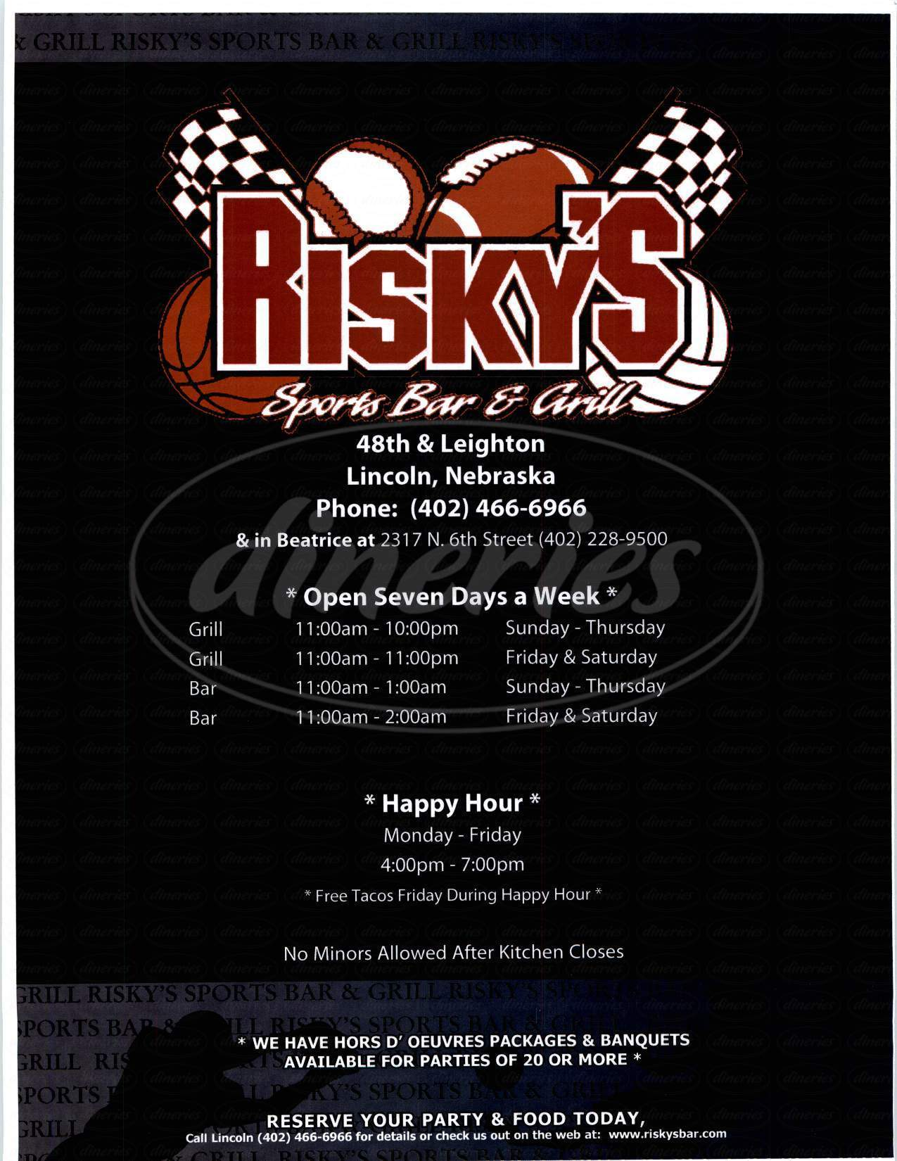 menu for Risky's Sports Bar & Grill