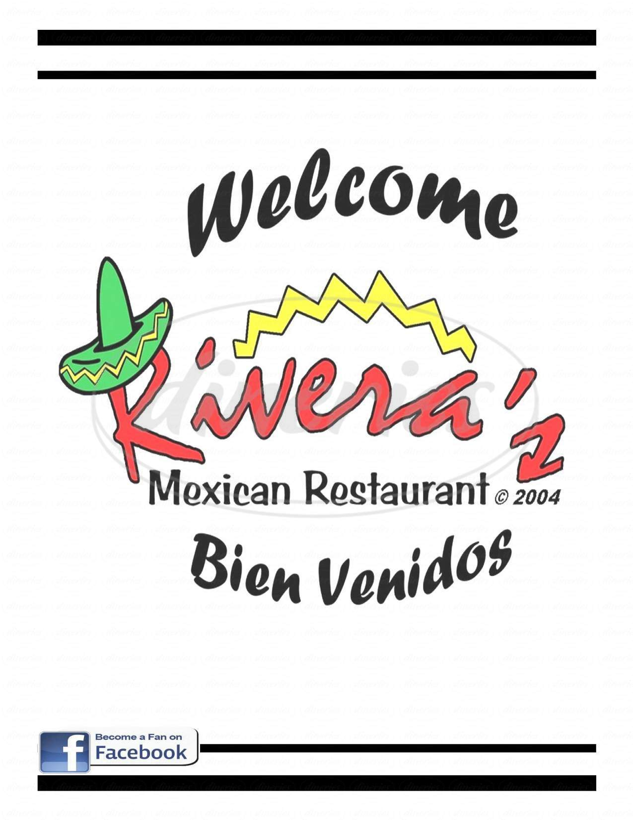 menu for Rivera's