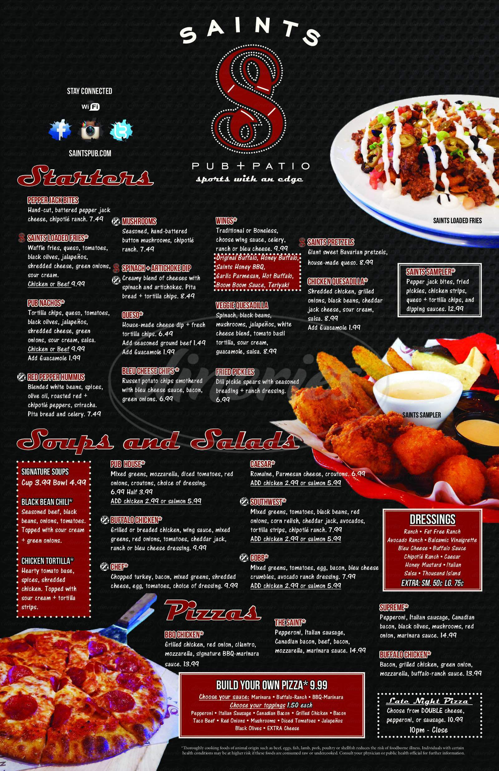 menu for Saints Pub & Patio