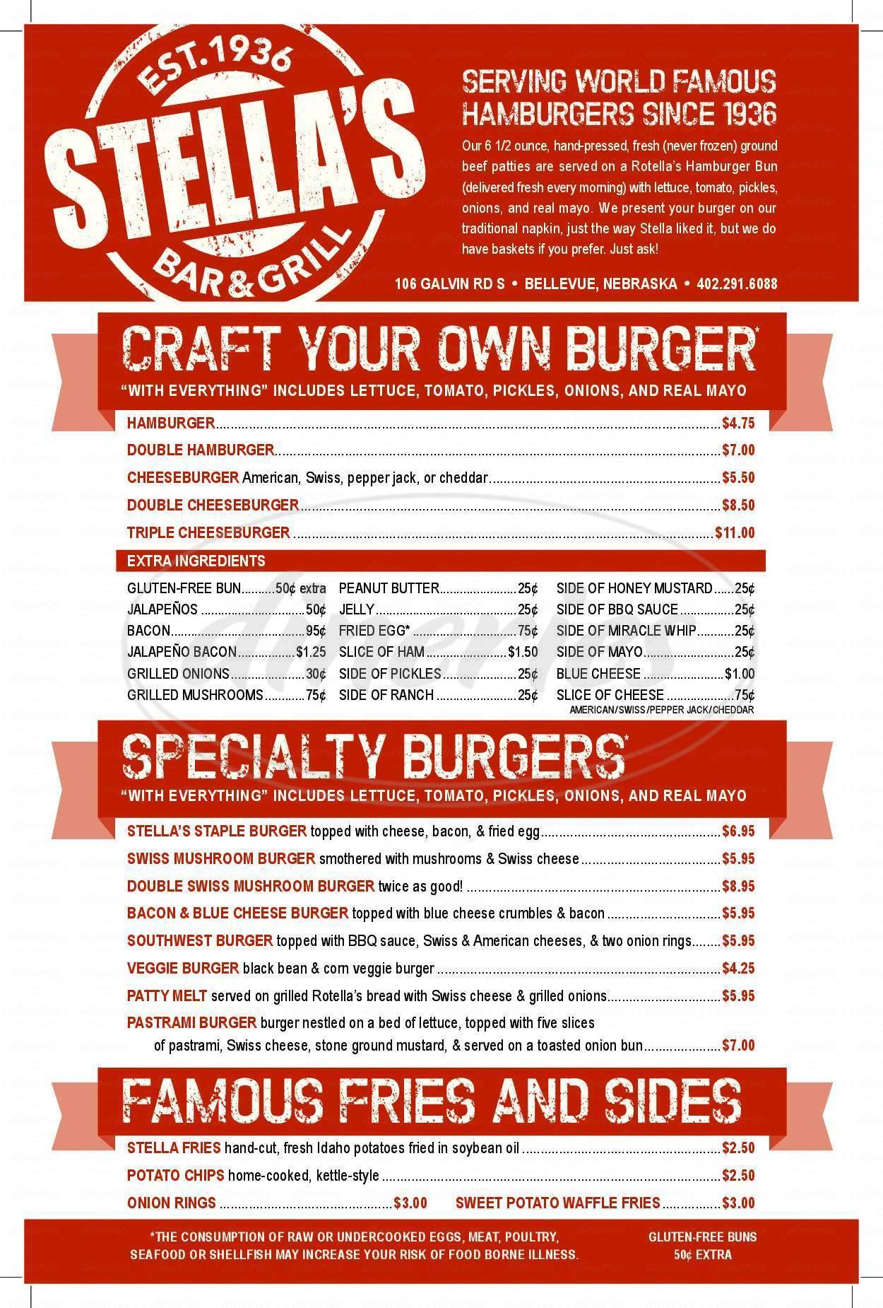 menu for Stella's Bar & Grill