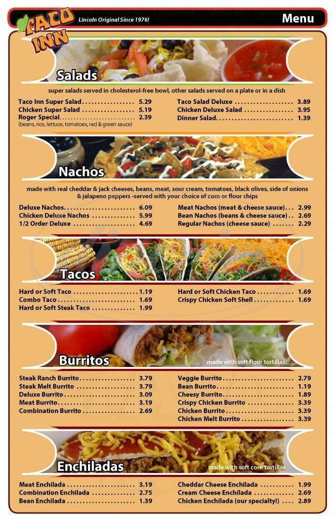 menu for Taco Inn