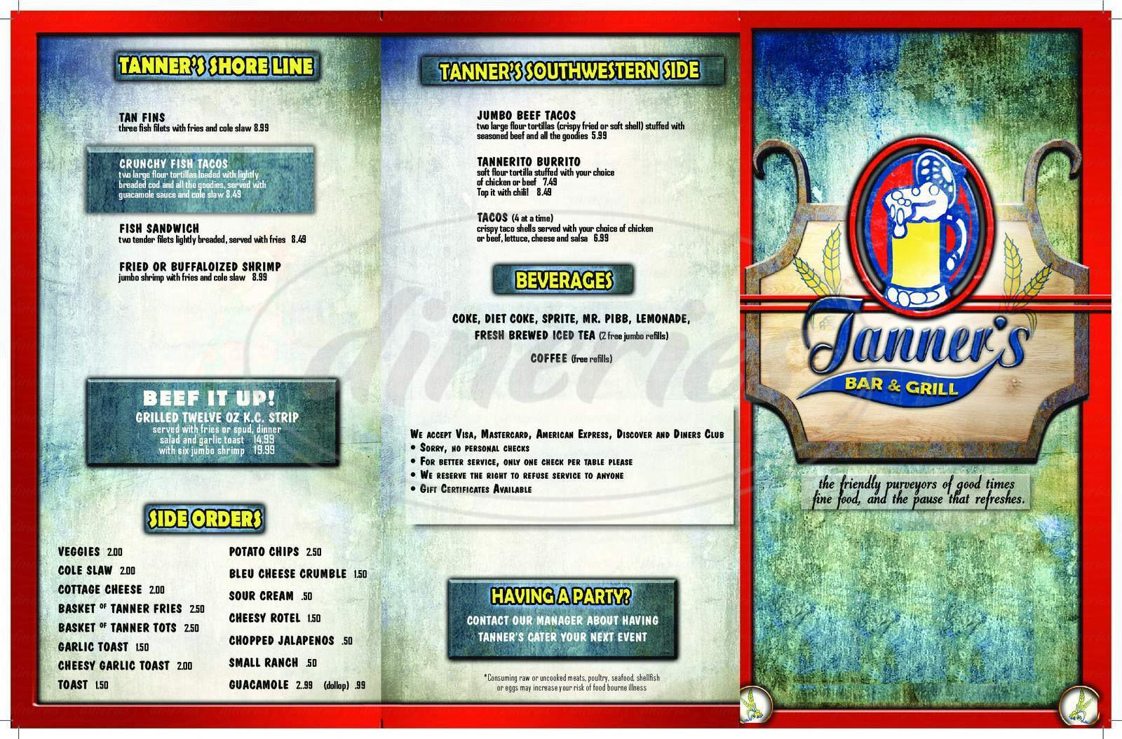 menu for Tanner's Bar and Grill