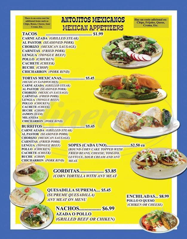menu for Taqueria El Rey
