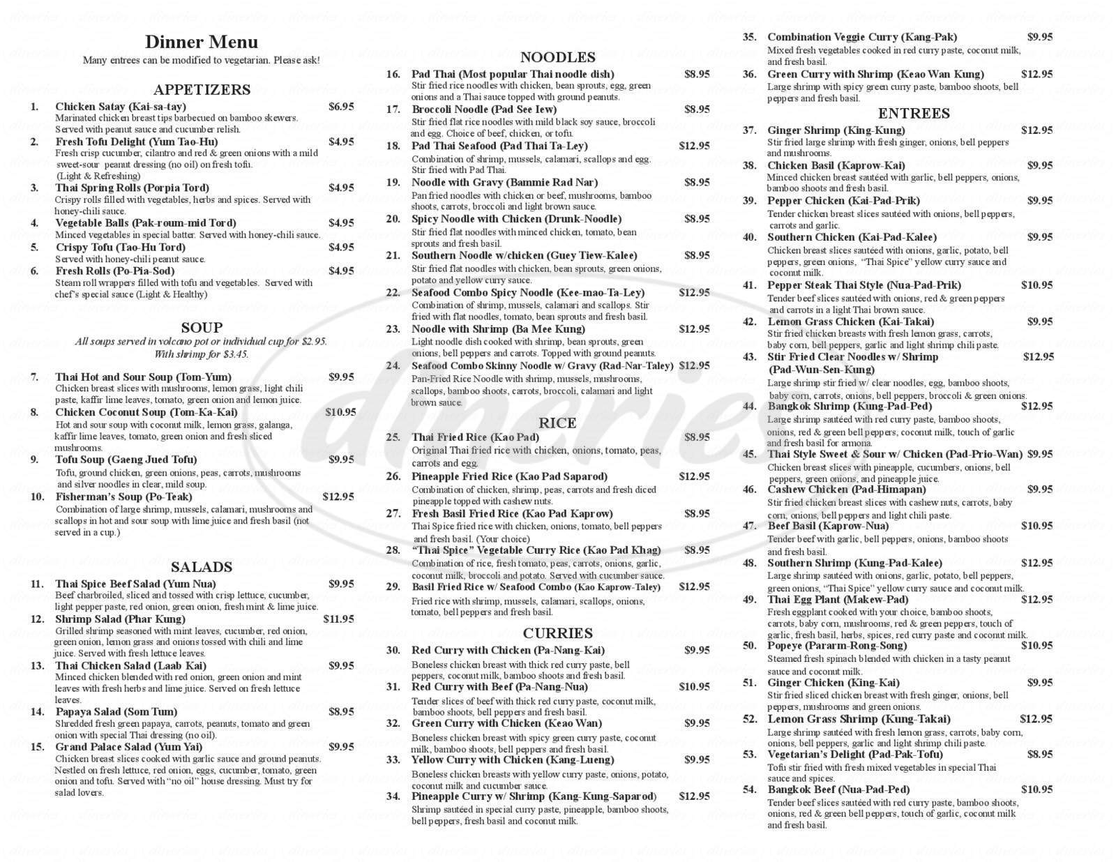 menu for Thai Kitchen