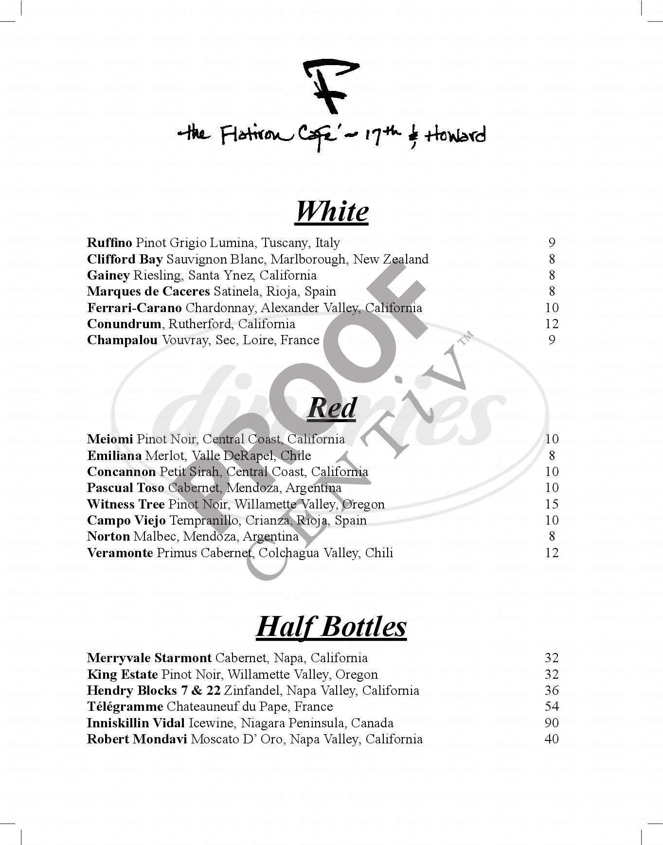 menu for Flatiron Cafe