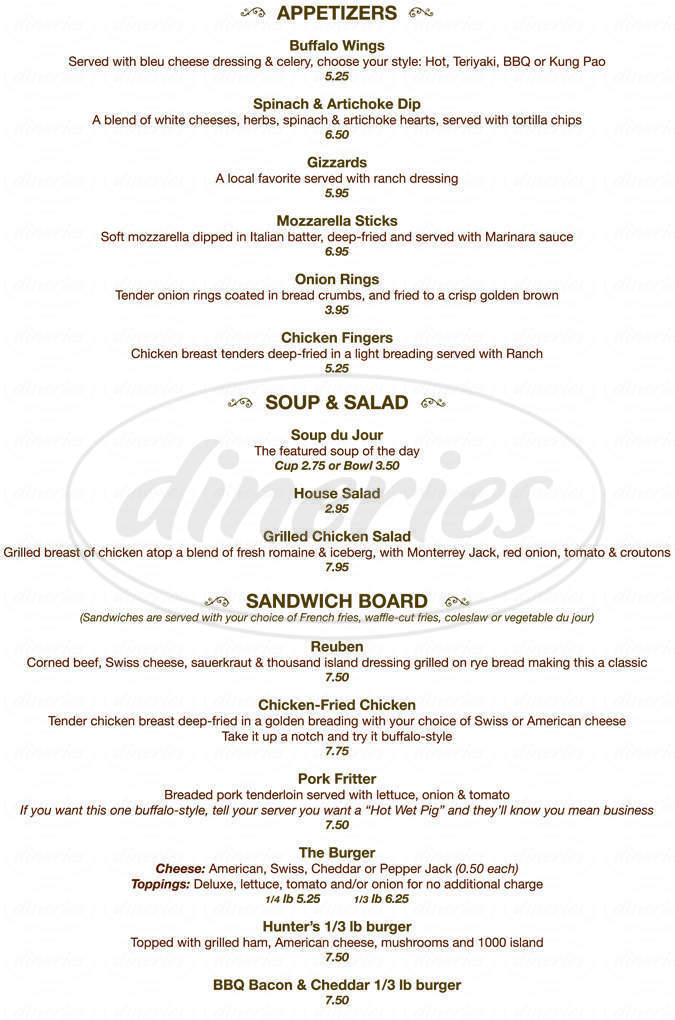 menu for Hunters Restaurant, Lounge & Keno