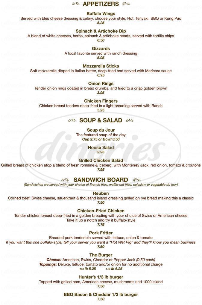 Big menu for Hunters Restaurant, Lounge & Keno, Waco