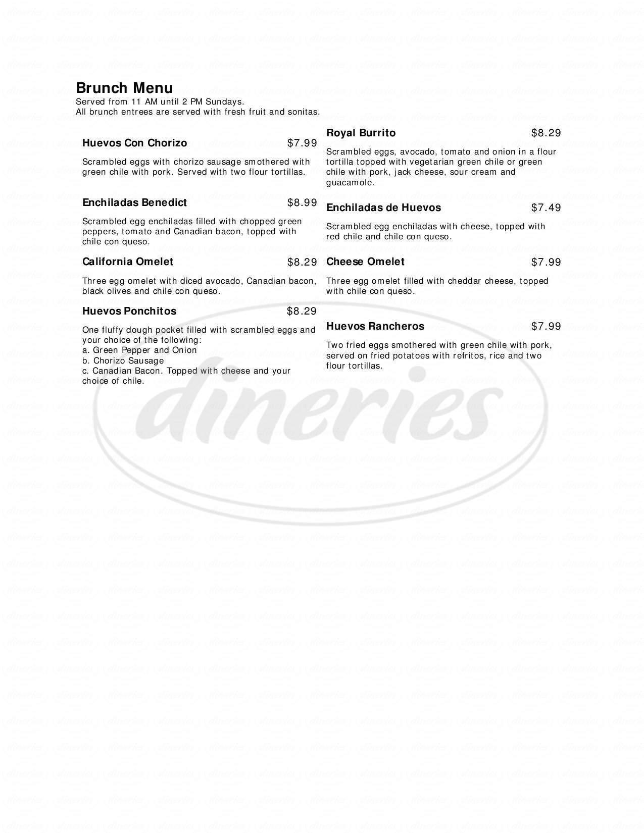 menu for Tico's