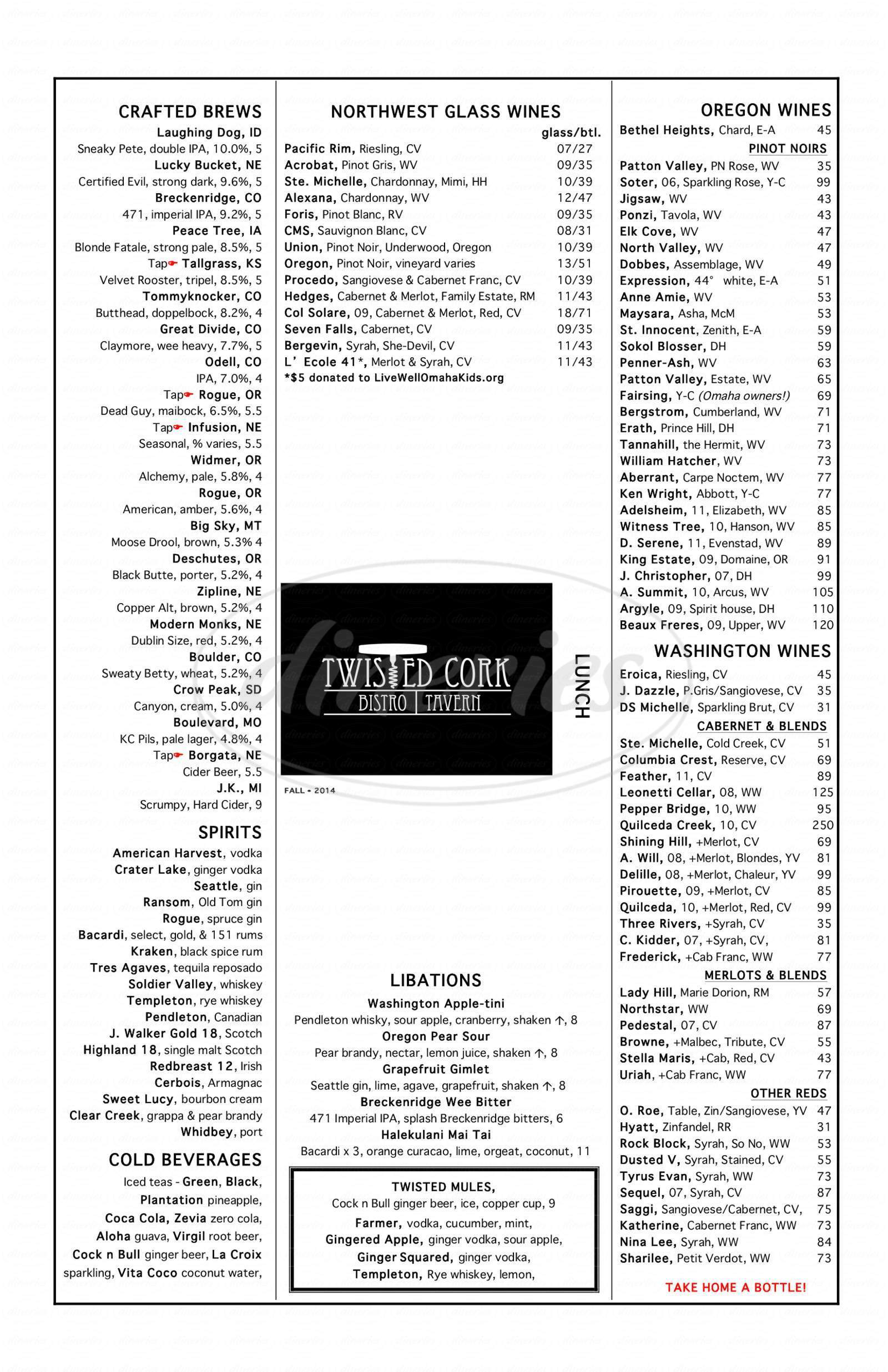 menu for Twisted Cork Bistro