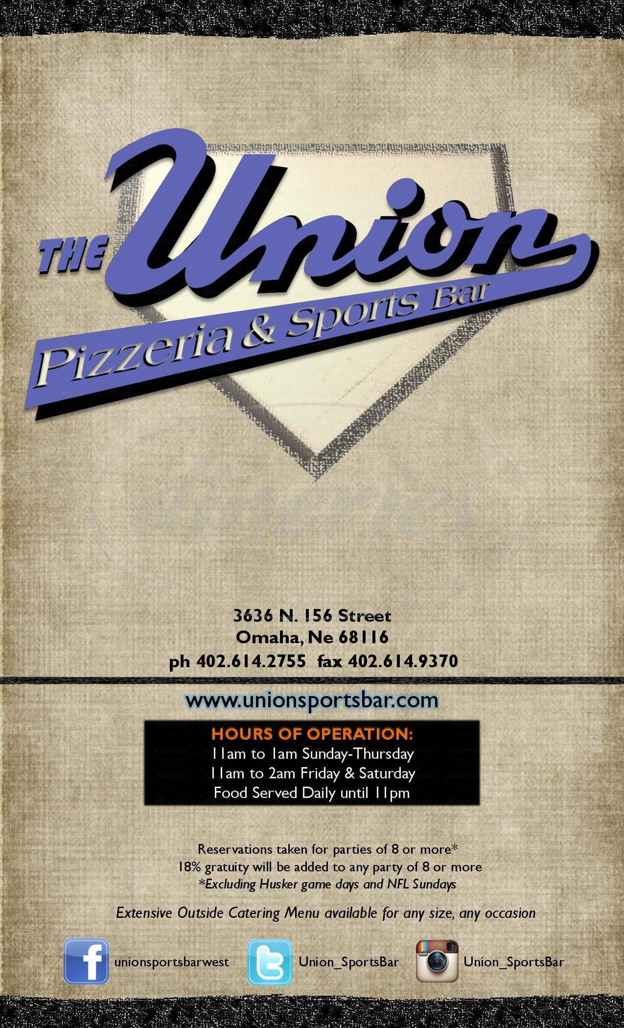 menu for Union Pizzeria & Sports Bar