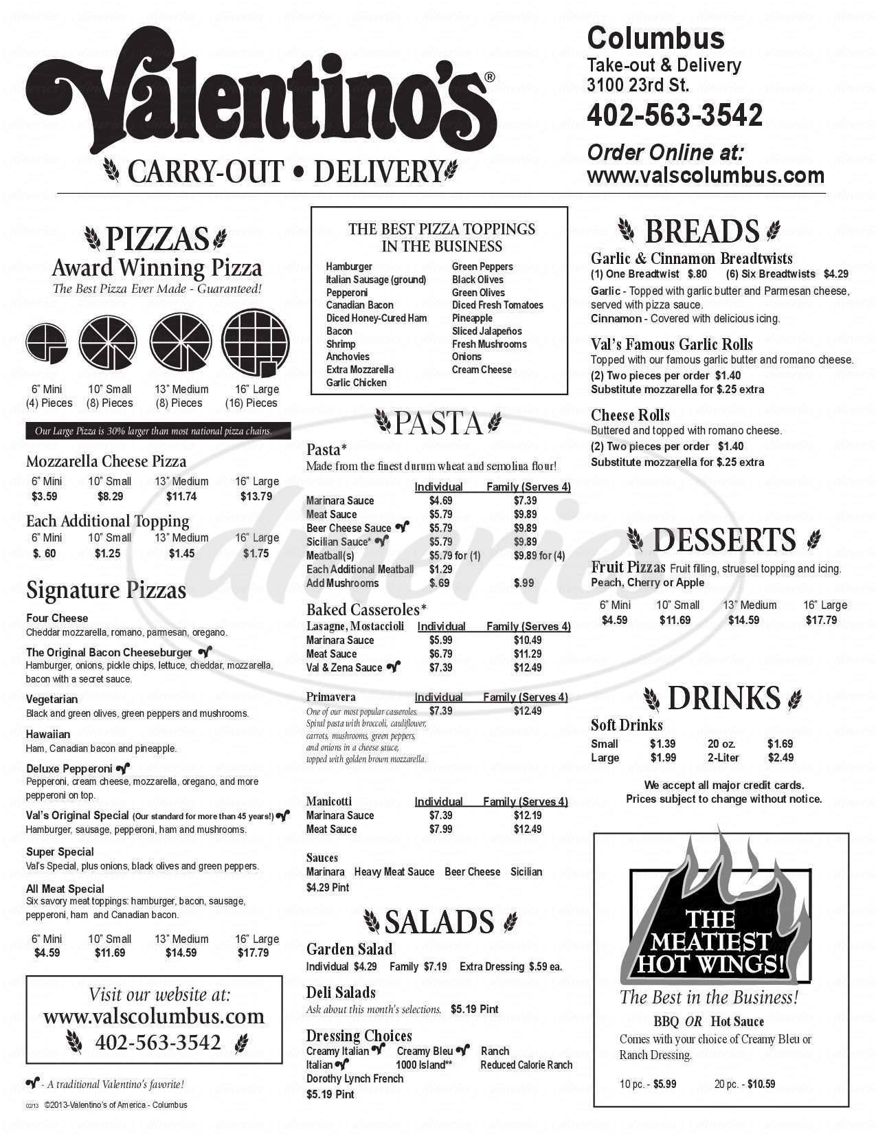 menu for Valentino's
