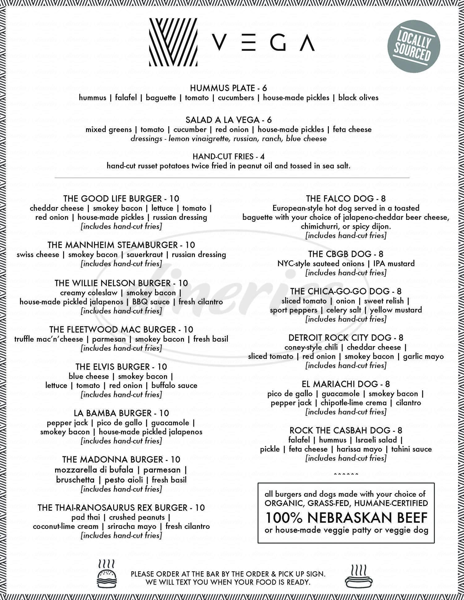 menu for Vega