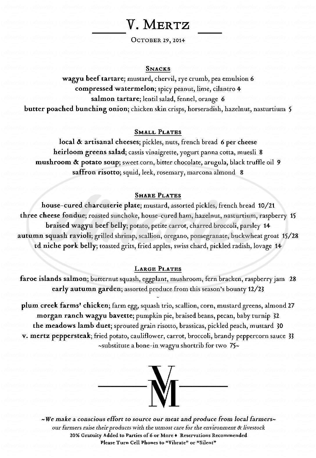 menu for V Mertz