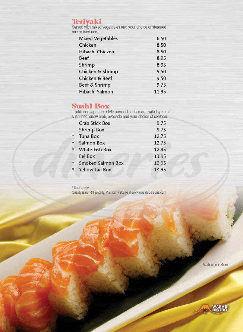menu for Wasabi Bistro