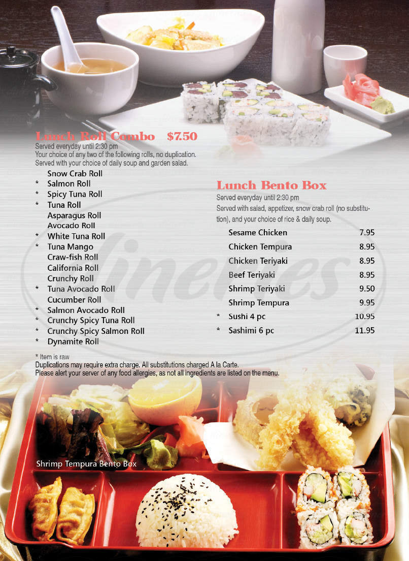 menu for Wasabi Bistro