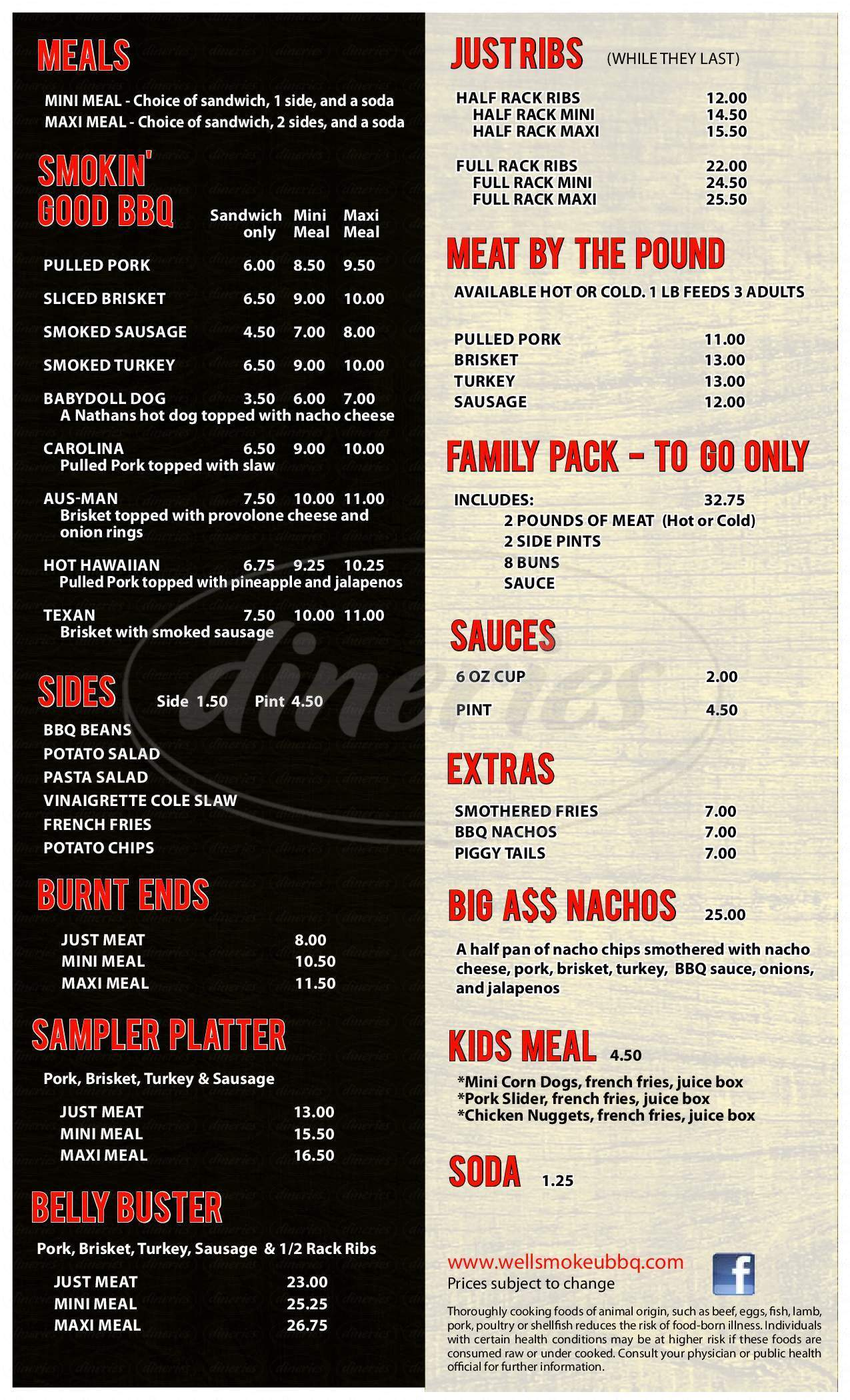 menu for We'll Smoke U