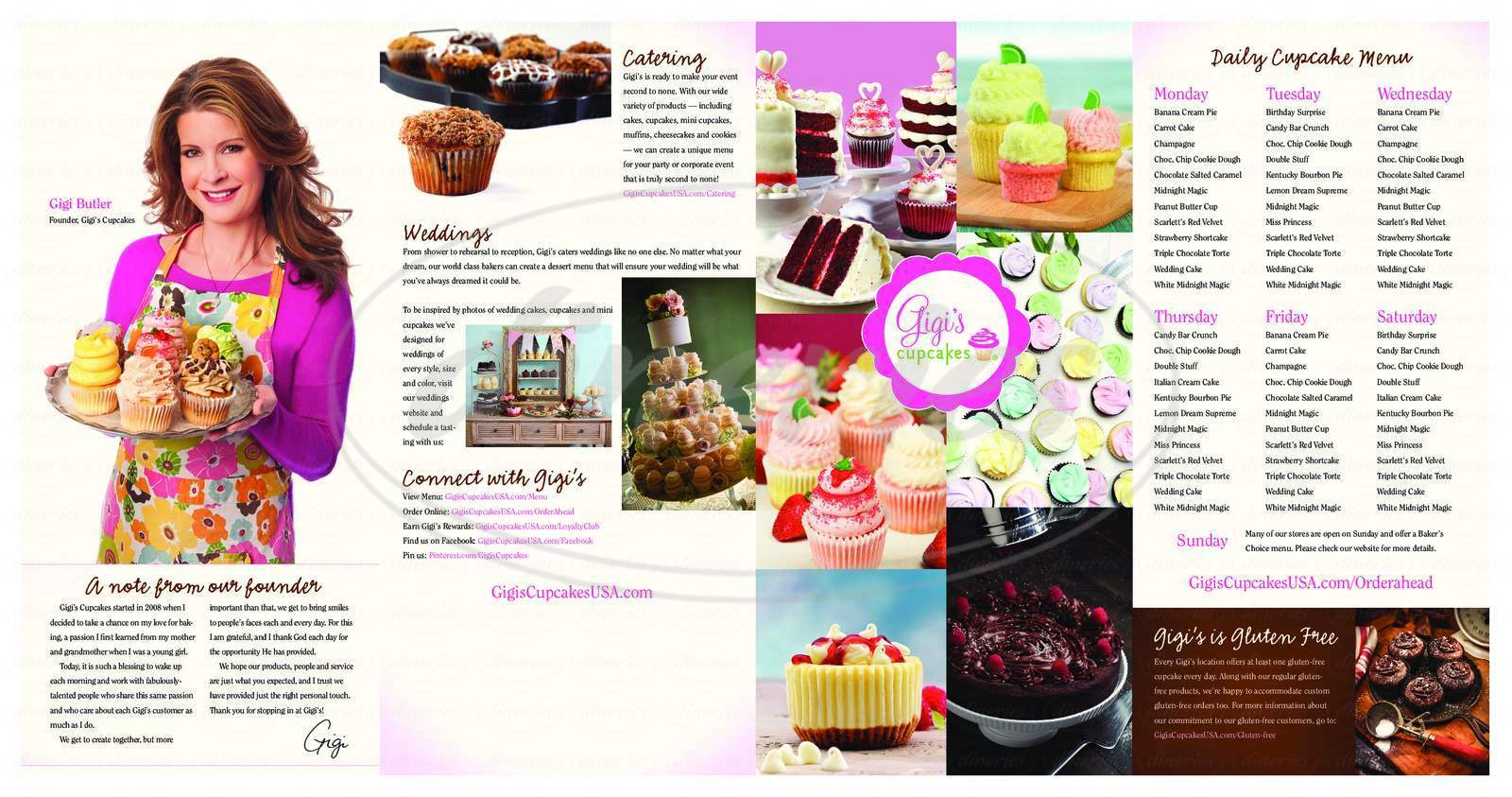 menu for Gigi's Cupcakes
